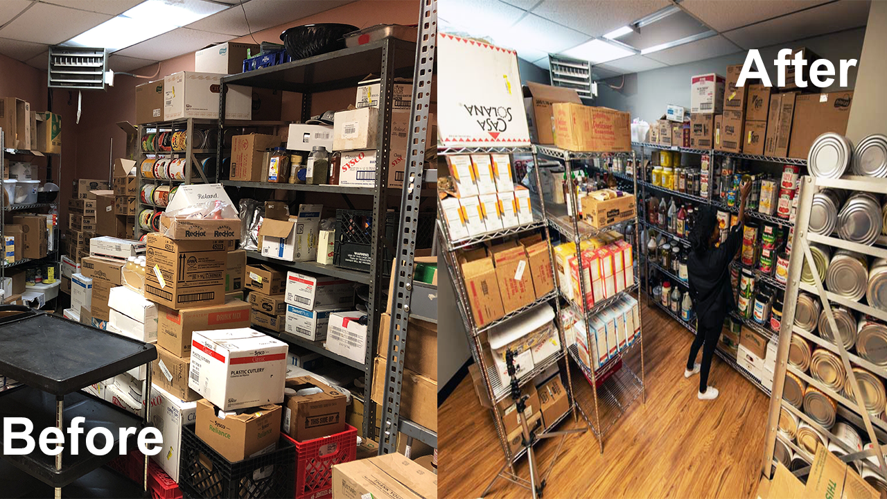 Before and after photograph of an unorganized and an organized pantry.