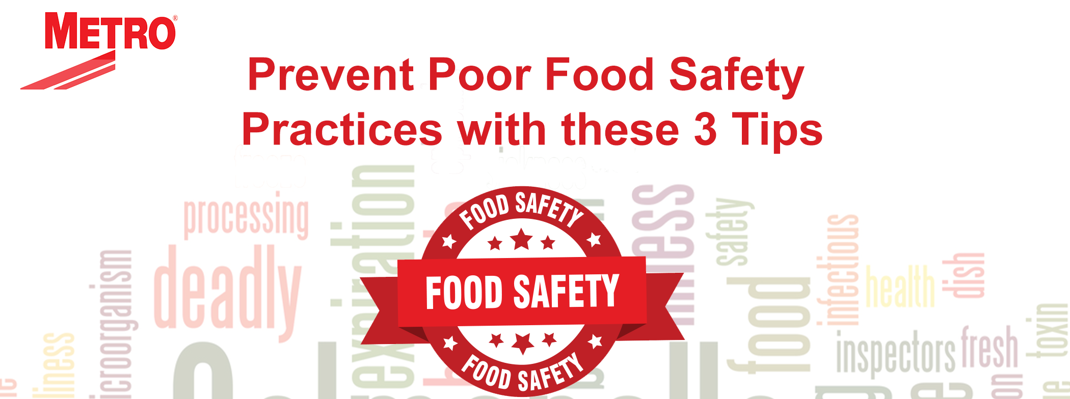 "Graphic reading, ""Prevent Poor Food Safety Practices with these 3 Tips"""