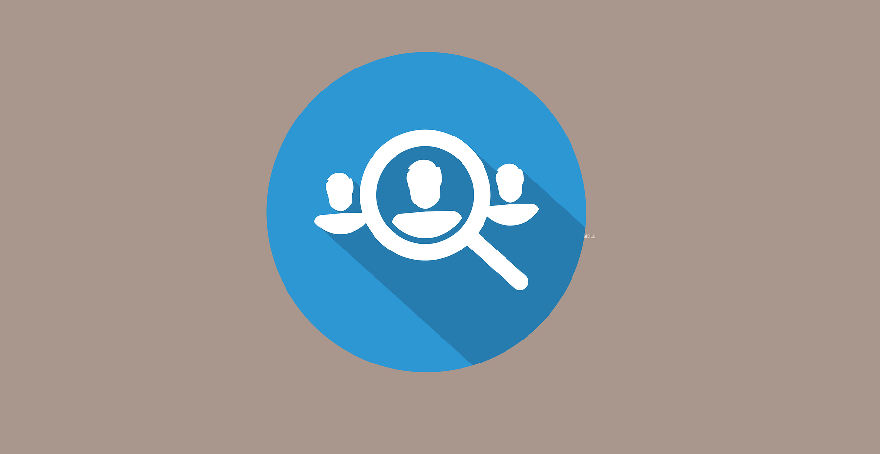 Graphic displaying three people icons and a magnifying glass magnifying the image middle person icon.