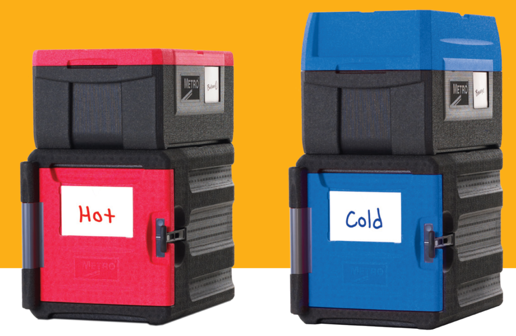 "Two Mightylites, red container with the label ""Hot"" and blue container with the label ""Cold""."